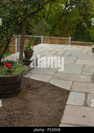 Newly laid patio made from indian slate. - Stock Photo