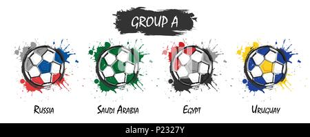 Set of national football team group A . Realistic watercolor art paint with stained splash color . Flat design . Vector for international world champi - Stock Photo