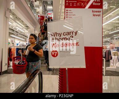 Signs in a Target store in Herald Square in New York on