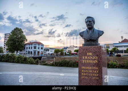 OSIJEK, CROATIA - MAY 12, 2018: Statue of Franjo Tudman in the war torn city of Vukovar. Franjo Tudjman was the first president of Croatia, during the - Stock Photo