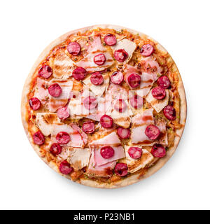 Ham and sausage pizza on white background. Copy space. Recipe and menu. Top view. - Stock Photo