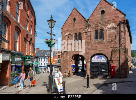 The Market House and shops in the town centre, Ross-on-Wye, Herefordshire, England, UK - Stock Photo