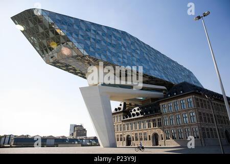 Port Authority of Antwerp, Belgium, created by the great architect Zaha Hadid - Stock Photo