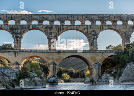 Pont du Gard, Languedoc-Roussillon, Gard, Provence, the South of France, France, the Roman aqueduct Pont du Gard, UNESCO world cultural heritage - Stock Photo