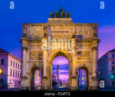 Siegestor' (victory gate) - triumphal arch at night, Munich, Upper Bavaria, Bavaria, Germany, Europe - Stock Photo