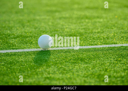 White ball for playing field hockey on the grass background - Stock Photo