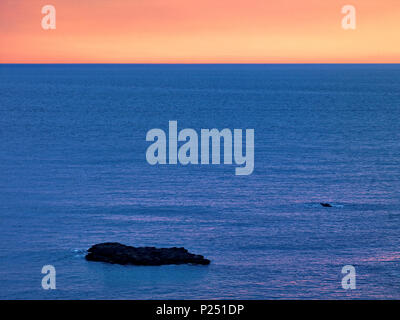 Northern Ireland, Antrim, Causeway Coast, Atlantic coast close Portrush in the evening mood - Stock Photo
