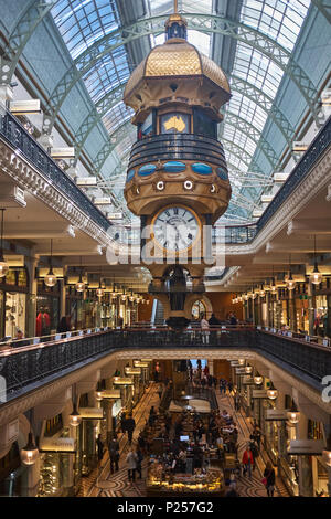 The Great Australian clock and shopping centre inside the Queen Victoria building, Sydney, New South Wales, Australia - Stock Photo