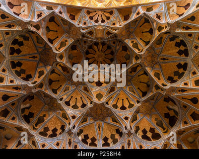 Open-work ceiling ornament in Ali Qapu Palace in Isfahan - Stock Photo