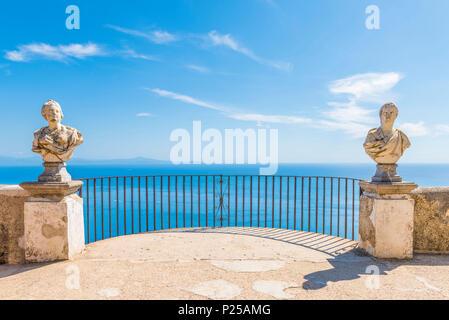 Villa Cimbrone, Ravello, Amalfi coast, Salerno, Campania, Italy. - Stock Photo