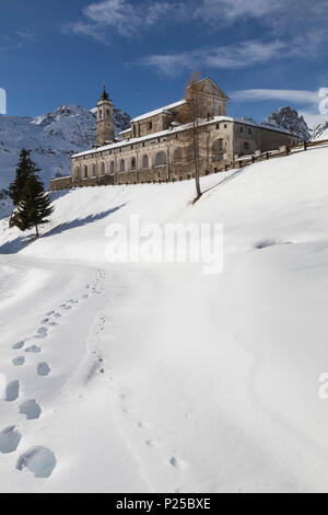 Grana Valley (Valle Grana), Castelmagno, province of Cuneo, Piedmont, Italy. Saint Magnus of Cuneo Sanctuary - Stock Photo