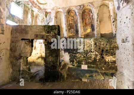 Ruprestrian Churc of Santa Lucia alle Malve, Matera district, Basilicata, Italy - Stock Photo