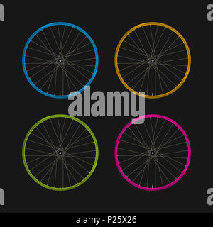 Multicolored Bicycle Rims on a Black Background. Bike Rims of Different Colors and Spokes. Blue, Yellow, Green and Purple Rims. Realistic Illustration - Stock Photo