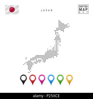Dotted Map of Japan. Simple Silhouette of Japan. The National Flag of Japan. Set of Multicolored Map Markers. Illustration Isolated on White Backgroun - Stock Photo