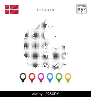 Dotted Map of Denmark. Simple Silhouette of Denmark. The National Flag of Denmark. Set of Multicolored Map Markers. Illustration Isolated on White Bac - Stock Photo