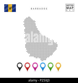 Dotted Map of Barbados. Simple Silhouette of Barbados. The National Flag of Barbados. Set of Multicolored Map Markers. Illustration Isolated on White  - Stock Photo
