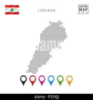 Dotted Map of Lebanon. Simple Silhouette of Lebanon. The National Flag of Lebanon. Set of Multicolored Map Markers. Illustration Isolated on White Bac - Stock Photo