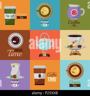 coffee and tea time set teapot coffee maker cups - Stock Photo