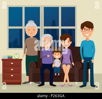 group of family members in the living room - Stock Photo