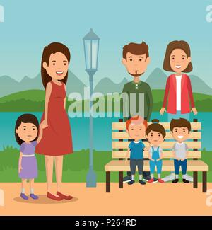 group of family members in the park - Stock Photo