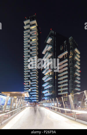 View of the Torre Aria, Torre Solaria, Torre Solea and Unicredit Pavillion from the bridge connecting to Gae Aulenti square. Milan, Lombardy, Italy. - Stock Photo