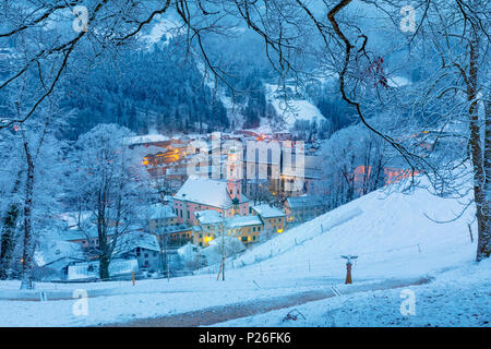 Historic town of Berchtesgaden in winter with snow, Berchtesgadener Land, Upper Bavaria, Bavaria, Germany - Stock Photo