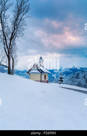 Chapel Kirchleitn at Berchtesgaden in winter, Berchtesgadener Land district, Upper Bavaria, Bavaria, Germany - Stock Photo