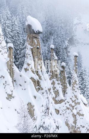 Perca/Percha, province of Bolzano, South Tyrol, Italy, Europe. Winter at the Earth Pyramids