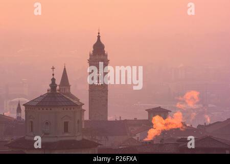 Sunrise in Bergamo Upper Town (città alta), Bergamo City, Province of Bergamo, Lombardy district, Italy, Europe - Stock Photo