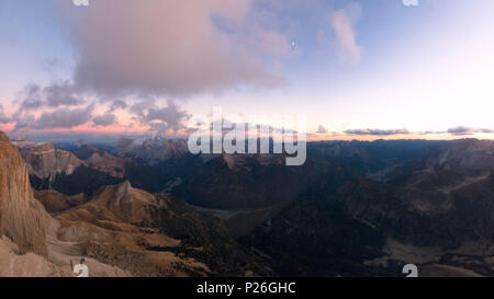 Panoramic aerial view of Val di Fassa, Marmolada, Sass Pordoi, Dolomites, Trentino Alto Adige, Italy