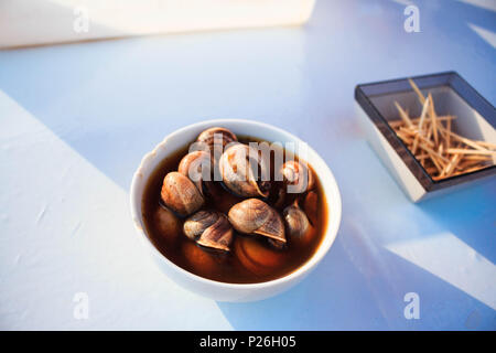 Marrakesh Morocco Street food snails in jemaa el-fnaa - Stock Photo