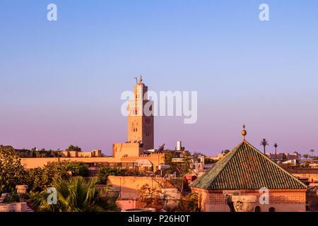 Marrakesh Koutoubia Mosque Morning Sunrise in  Morocco - Stock Photo