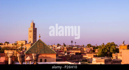 Marrakesh Old City rooftops Panoramic  (Morocco) - Stock Photo