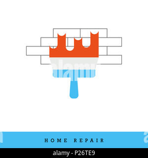 Home Repair Icon. Putty Knife - Spatula - Plastering on the Brick Wall.