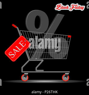Black Friday Big Sale Concept. A Supermarket Trolley with a Large Percent Symbol in it. Red Discount Tag on the Side of the Cart. Illustration. - Stock Photo
