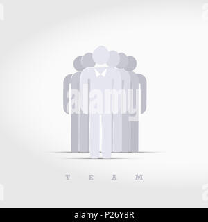 Business Team 3D Icon. The Leader is Ahead in the Bow Tie. - Stock Photo
