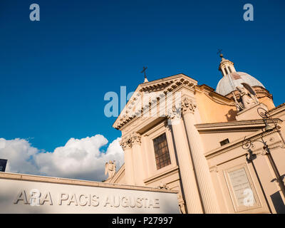 Italy, Lazio, Province of Rome, Rome. The church of St. Rocco and the wall of Ara Pacis Augustae - Stock Photo