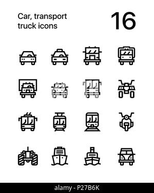Car, transport, vehicle, truck, train vector flat line icons for web and mobile applications - Stock Photo