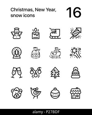 Merry Christmas and Happy New Year icons for web and mobile design pack 2 - Stock Photo
