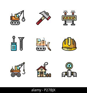 Building, construction and home repair tools simple outline colorful icons for web and mobile design set 3 - Stock Photo