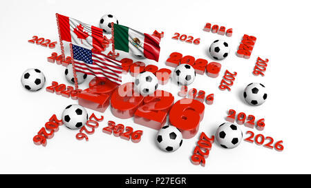 Right View of Many 2026 Designs with Canadian Mexican and USA Flags with some Football balls on a white background - Stock Photo