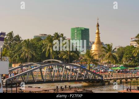 Yangon (Rangoon), Botataung Paya temple at Yangon River, Yangon Region, Myanmar (Burma) - Stock Photo