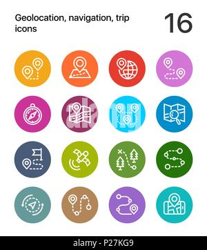 Colorful Geolocation, navigation, trip icons for web and mobile design pack 1 - Stock Photo