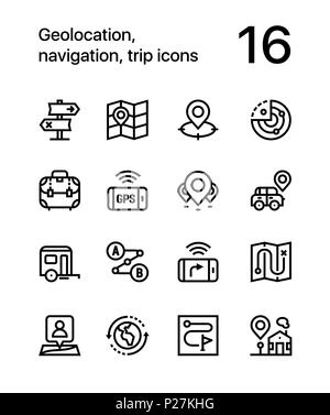 Geolocation, navigation, trip icons for web and mobile design pack 2 - Stock Photo