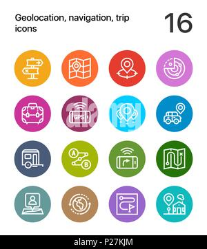 Colorful Geolocation, navigation, trip icons for web and mobile design pack 2 - Stock Photo
