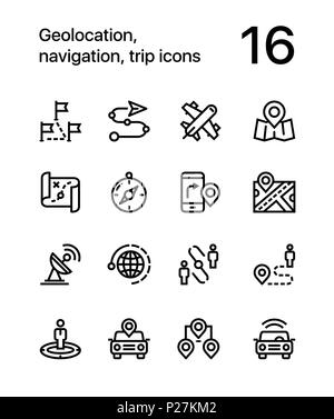 Geolocation, navigation, trip icons for web and mobile design pack 3 - Stock Photo