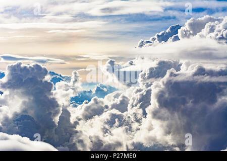 tropical clouds, cumulonimbus cloud, from aircraft, - Stock Photo