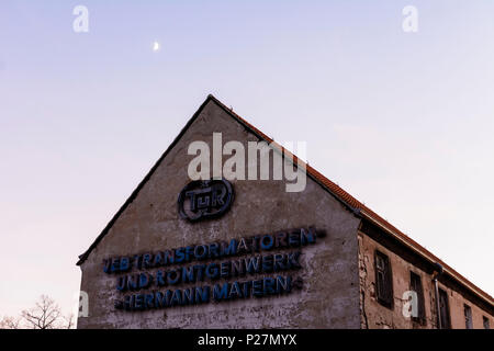 Dresden, old factory from GDR times sign 'VEB Transformatoren- und Röntgenwerk Hermann Matern, TuR', Saxony, Germany - Stock Photo