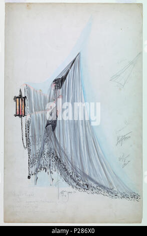 .  English: Drawing, Costume Design: Night Light, for Ziegfeld Follies of 1920, 1920 .  English: Vertical format. Figure of a woman standing in left profile wearing a tall peaked cone-shaped black hat covered with a veil which covers her entirely and forms a train. She holds a lantern with a long chain. Further headpiece details in pencil at right. . 1920 99 Drawing, Costume Design- Night Light, for Ziegfeld Follies of 1920, 1920 (CH 18472565) - Stock Photo