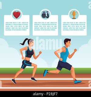 People running infographic - Stock Photo